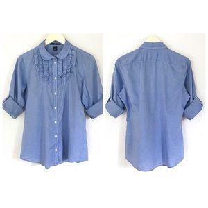 GAP Blue Ruffle Bib Button Down Shirt Long Sleeves